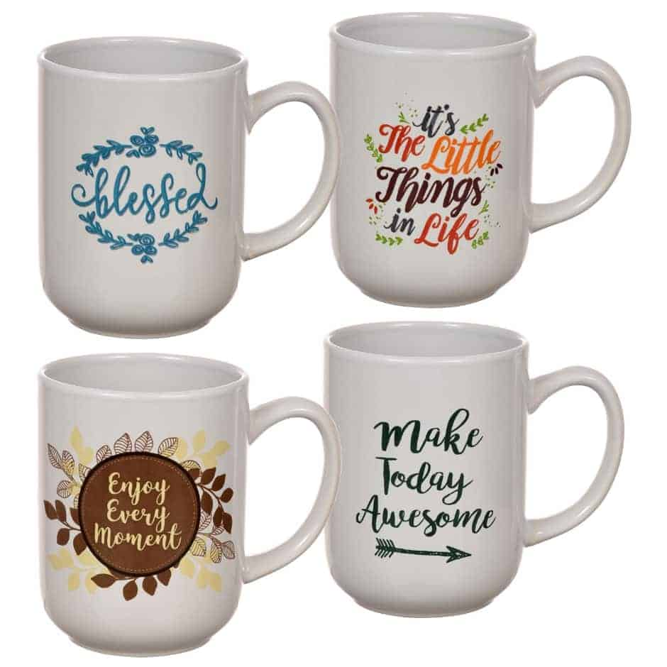 Cheap Baby Shower Decoration Ideas. Mugs as centerpiece (dollar tree)
