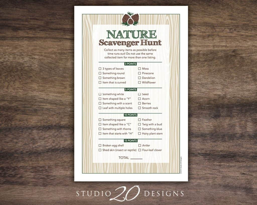 Nature Scavenger Hunt (studio 20 designs) Teen party ideas.