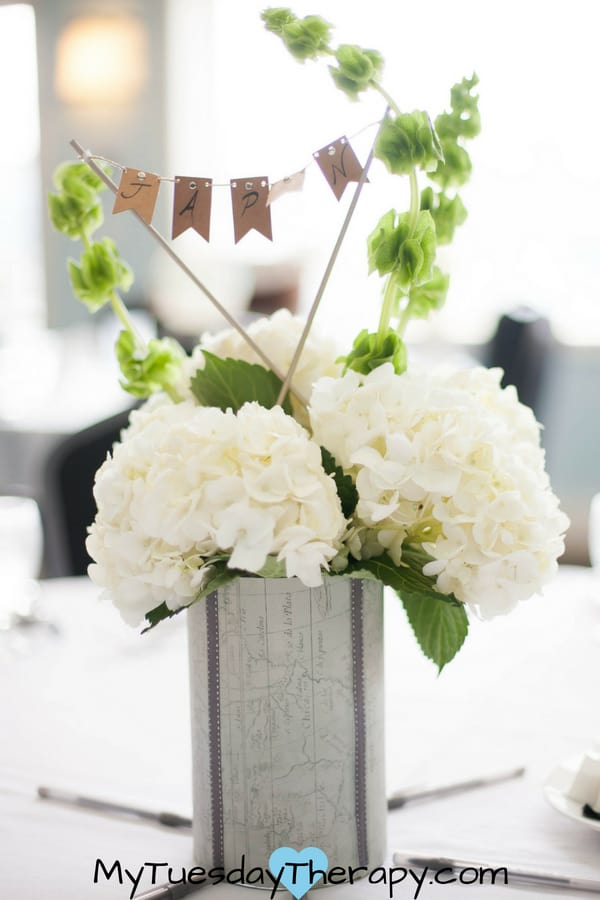 Travel Baby Shower Ideas. These gorgeous flower arrangements are the pefect centerpiece for your greatest adventure baby shower.