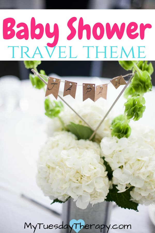 Baby Shower Travel Theme. Host the most beautiful vintage travel baby shower. These lovely flowers with country banners are the perfect centerpieces.