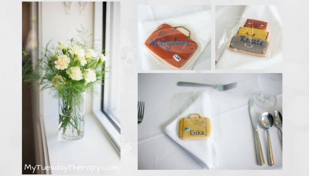Travel Theme Baby Shower Favors. These delicious suitcase cookies served as a place card and a favor in this lovely adventure baby shower. You'll like the other awesome vintage travel ideas too.