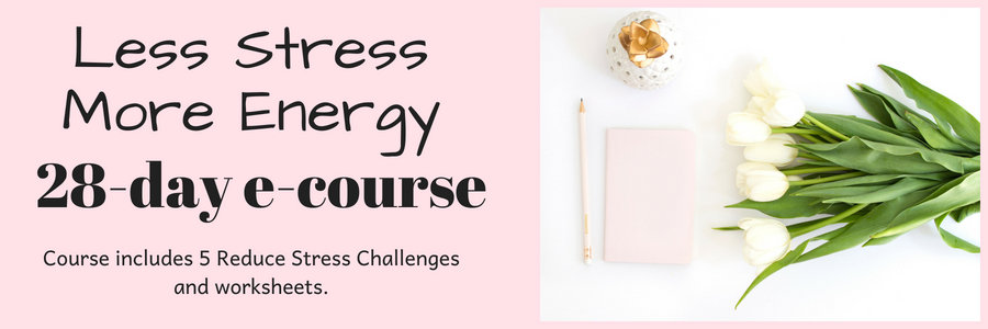Less Stress More Energy. 28 day e-course. Includes 5 Reduce Stress Challenges and worksheets.