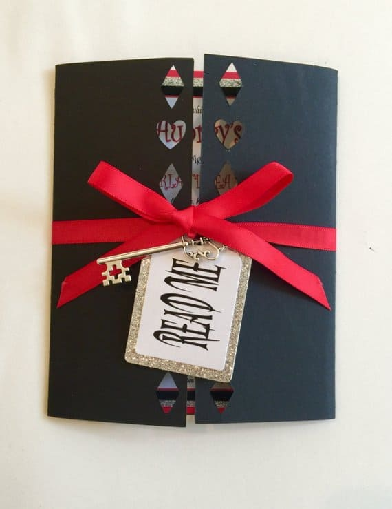 Alice In Wonderland Invitation with a Key and Read Me Tag.