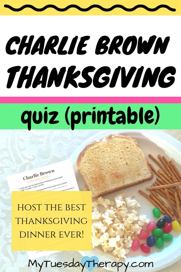 Charlie Brown Thanksgiving Quiz Printable. This party is easy fall family fun!