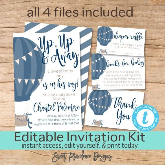 Hot Air Balloon Editable Invitation Kit.
