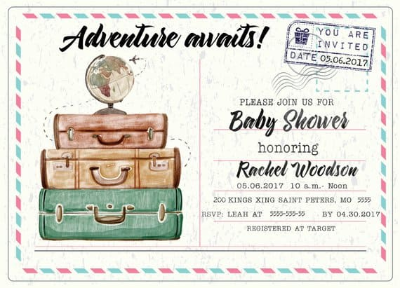 Adventure Awaits Baby Shower Invitation. A cute invitation with vintage suitcases!