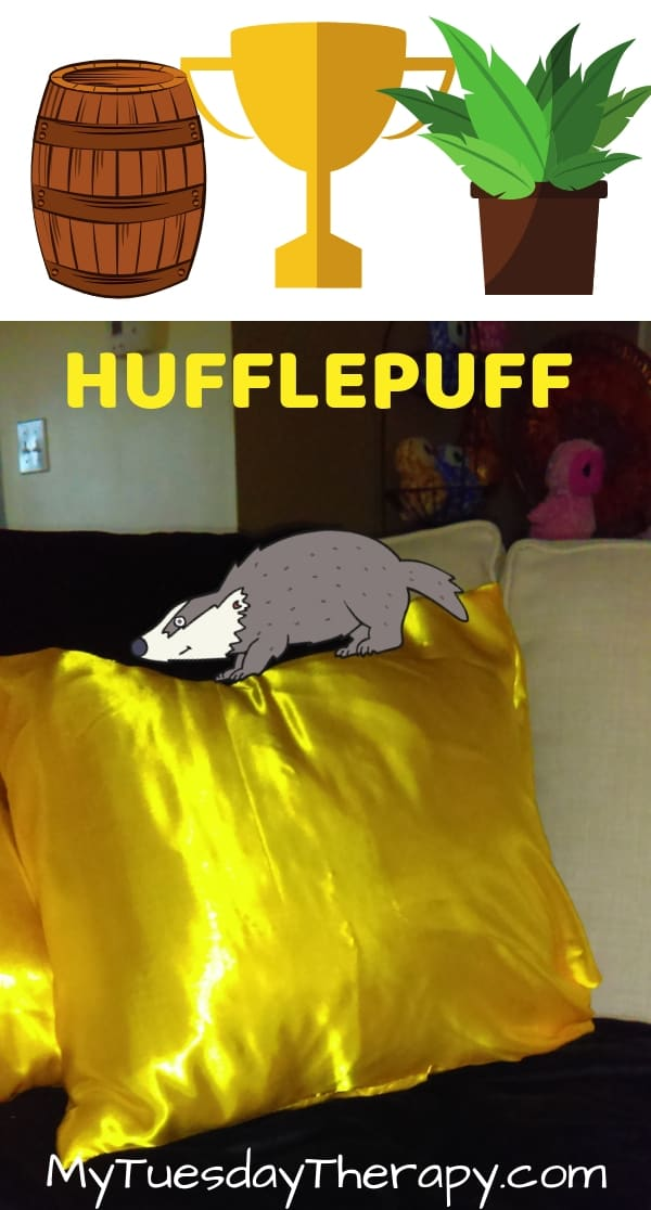 Hufflepuff Common Room Ideas. Yellow pillows, black blanket.