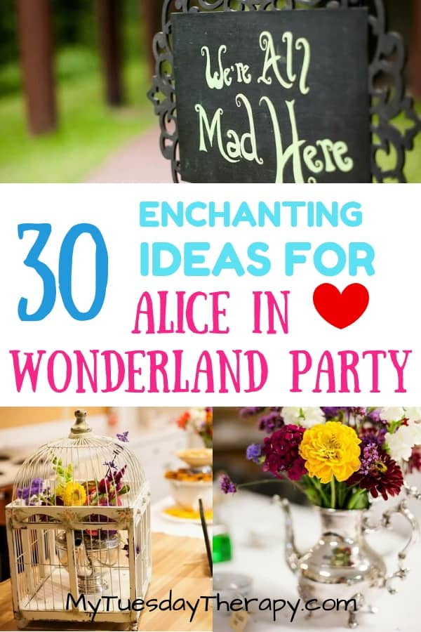 Alice, Mad Hatter, White Rabbit... meet the unforgettable characters at this Alice In Wonderland Tea Party. You\'ll find here ideas that work for bridal showers, weddings, and girl\'s birthday parties! Tea cup decorations, bird cage card holder, Alice in Wonderland Signs and many others.