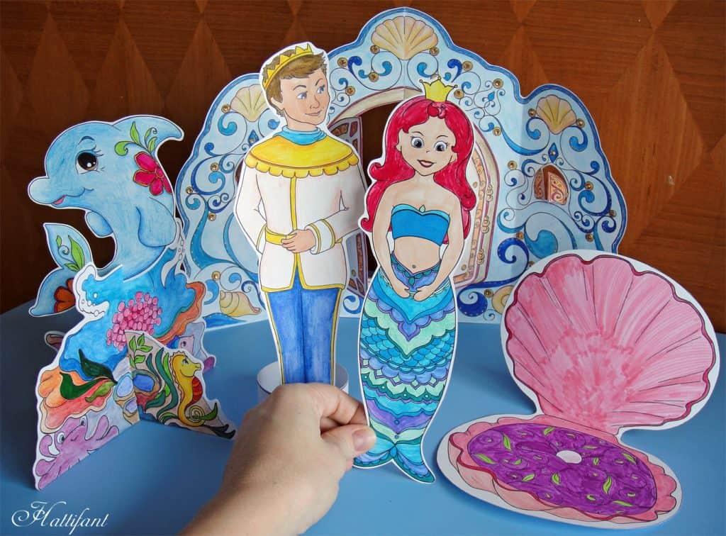 Magic Mermaid World Cutouts. Mermaid Paper Dolls. DIY. Printable.