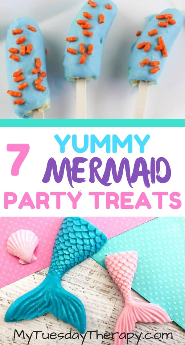 Mermaid Party Food. Mermaid Chocolate and Mermaid Banana Treats.