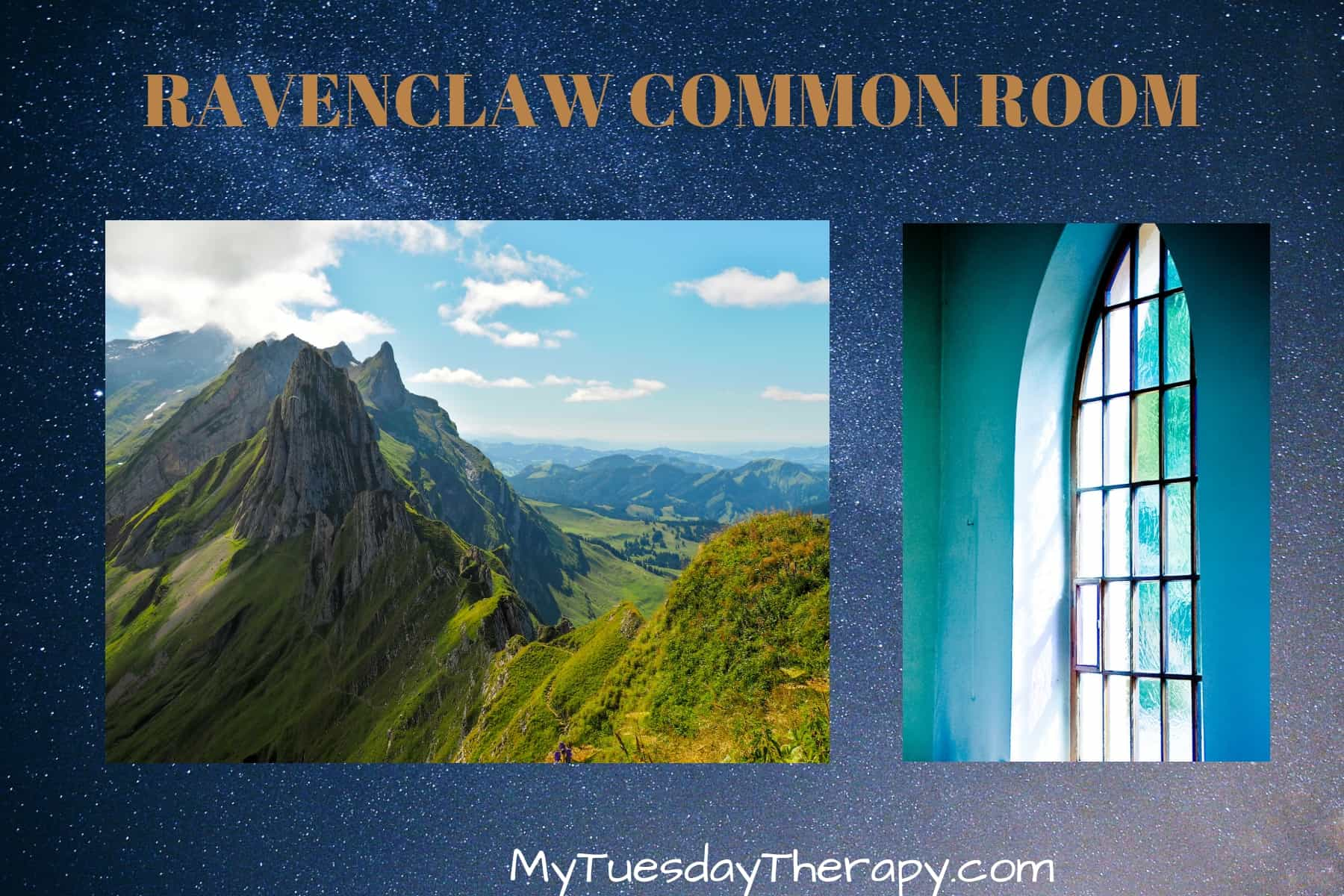Ravenclaw Common Room. Mountain view, arched windows.