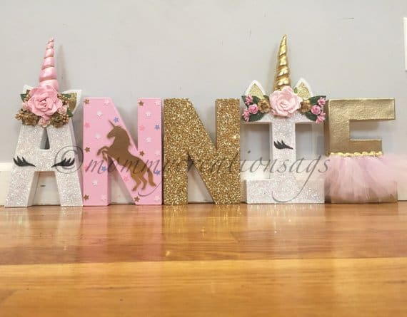 Unicorn Letters. Display the birthday party girls name in a stunning fashion!