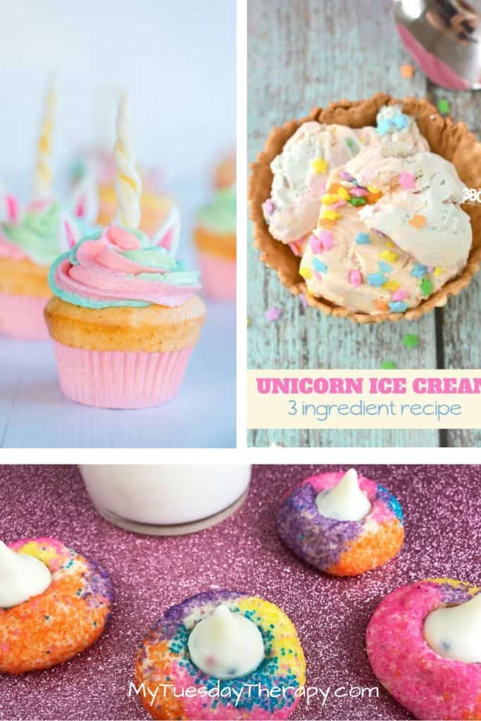 Unicorn Treats: Unicorn Cupcake, Unicorn Ice Cream, Unicorn Kisses Cookies