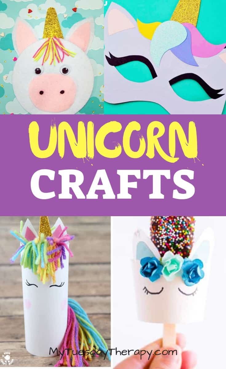 Unicorn Crafts. Unicorn felt activity. Unicorn Mask. Paper Roll Unicorn and Unicorn Popsicle Holder.