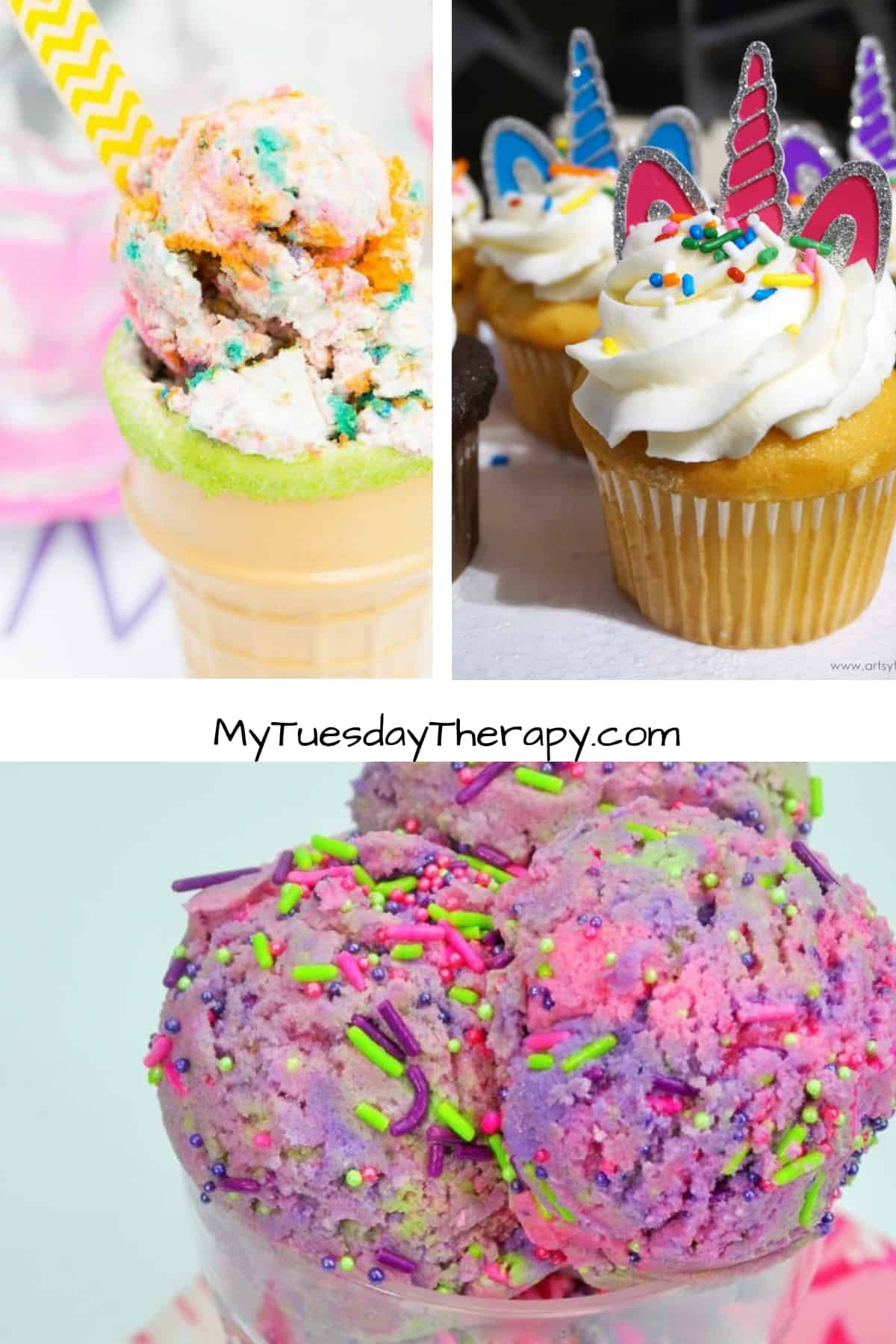 Unicorn Desserts: Unicorn Ice Cream, Unicorn Cupcakes and Unicorn Dough