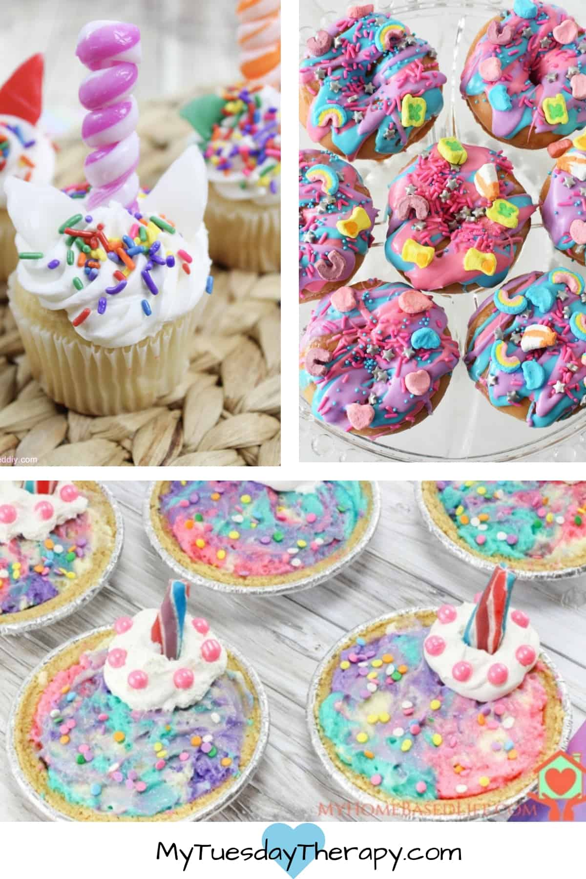 Unicorn Desserts: Unicorn Cupcake with and edible horn, Unicorn Donuts, and Unicorn Cheesecake.