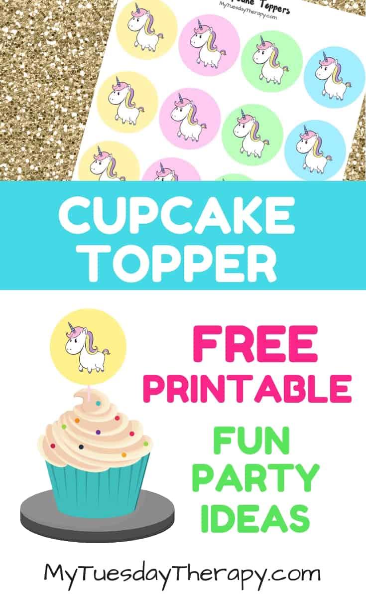 Unicorn Cupcake Topper. Free Party Printable.