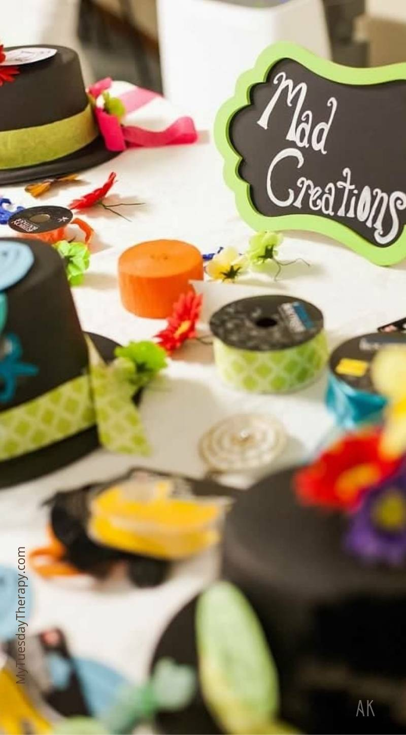 Alice in Wonderland party activity: Mad Creations. Who can make the maddest or the cutest hat.