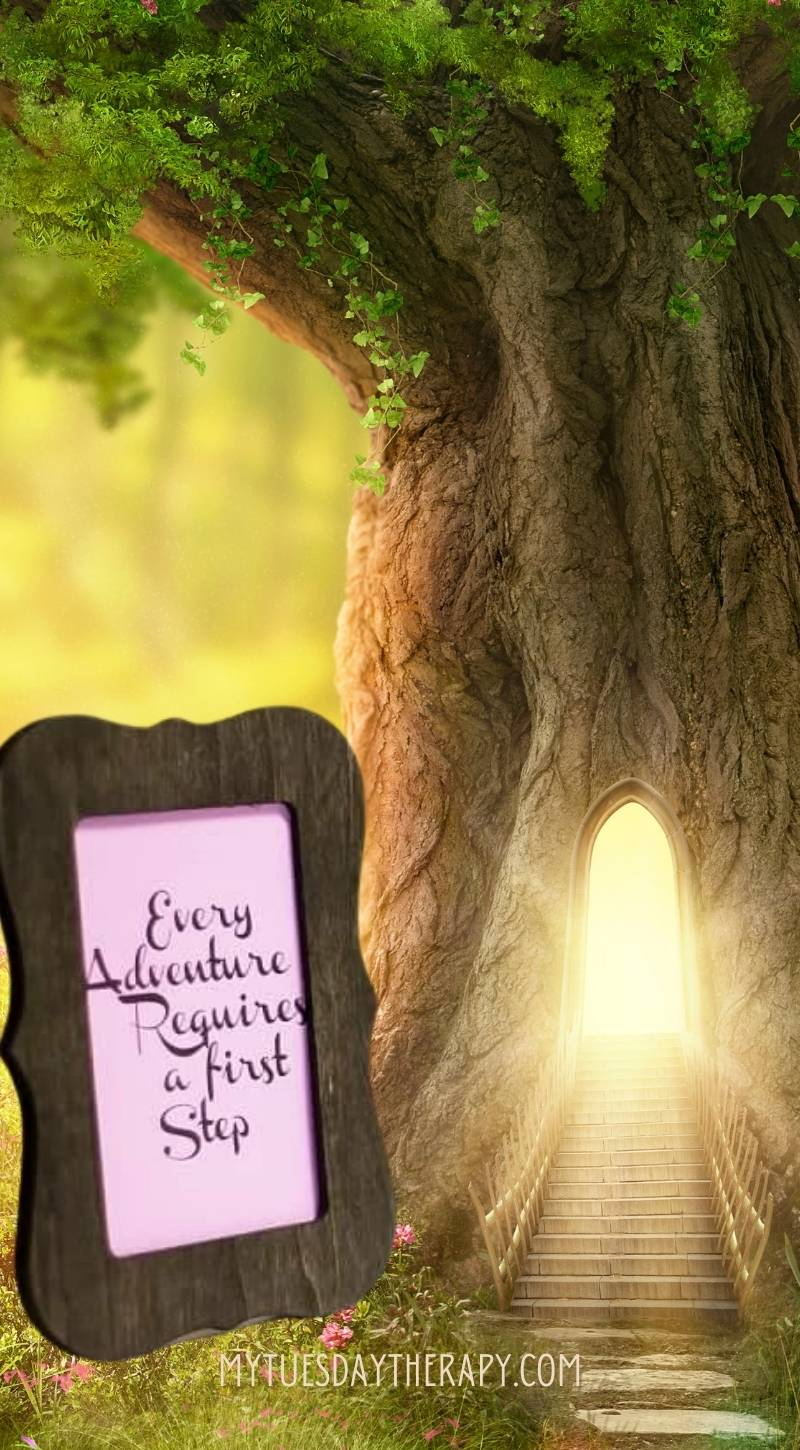 A framed quote from The Cheshire Cat: Every Adventure Requires a First Step.