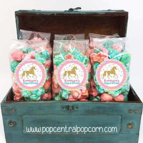 Unicorn Popcorn. A sweet unicorn party favor.