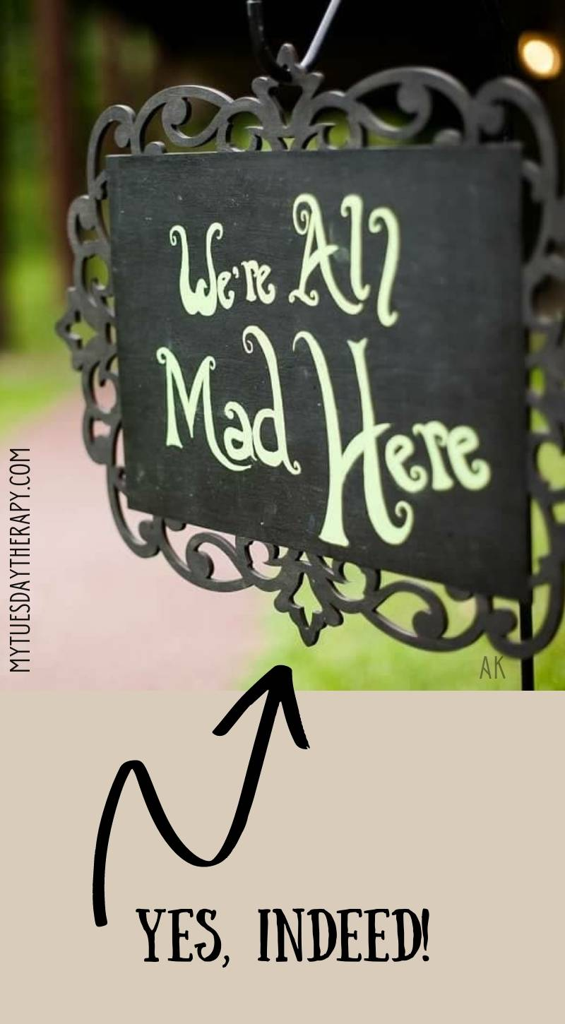 We're All Mad Here. Black sign with decorative frame.