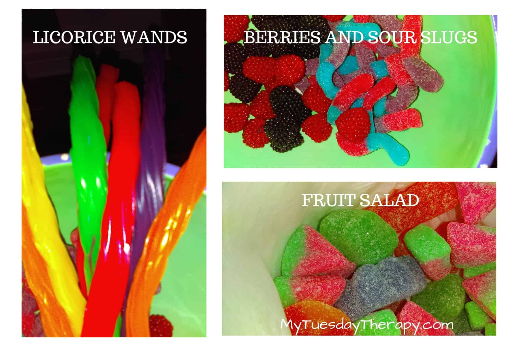 Harry Potter Party Food. Licorice Wands. Berries and Sour Slugs, Fruit Salad