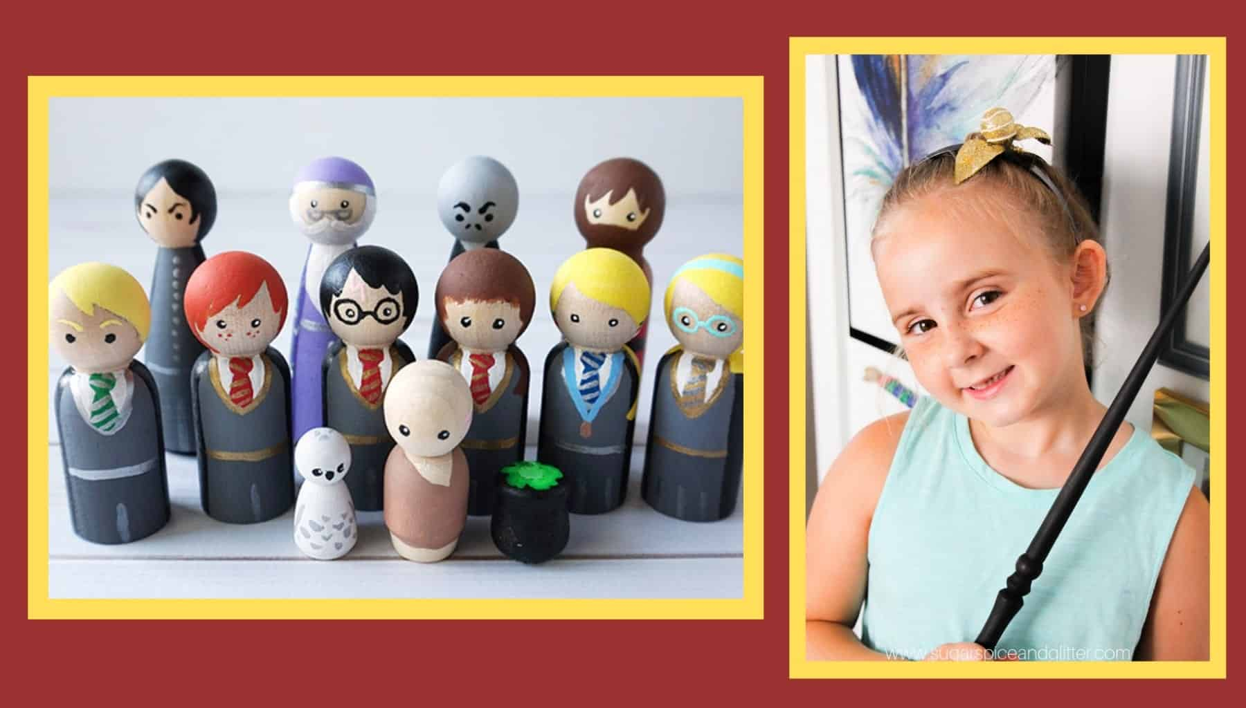 DIY Harry Potter Crafts: peg dolls and snitch headband