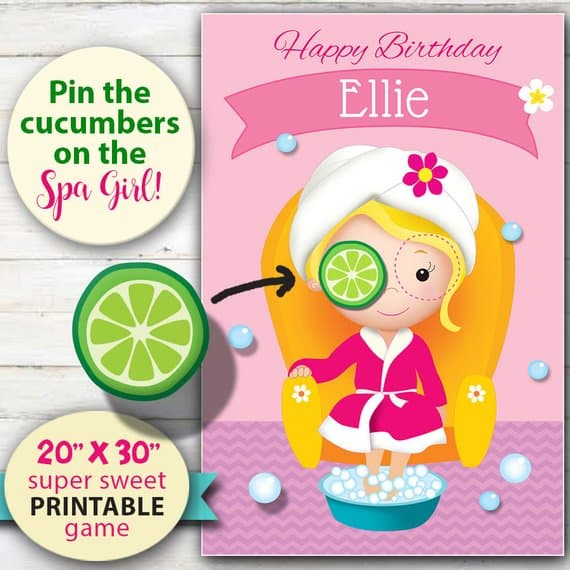Spa Party Activity. Pin the Cucumber
