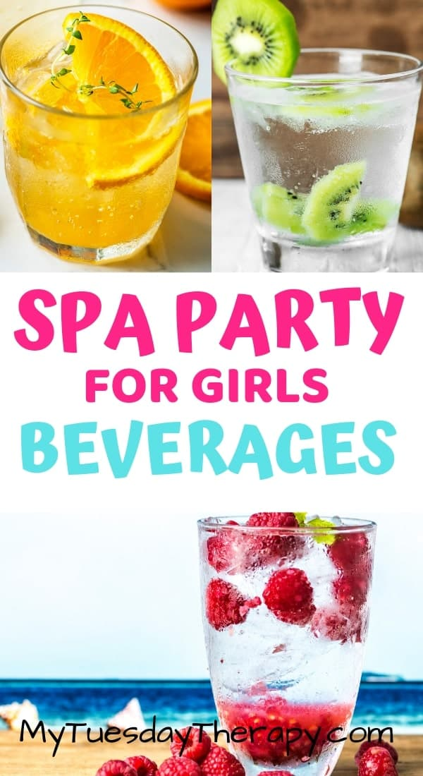 Spa Party Food. Refreshing beverages for kids spa party.