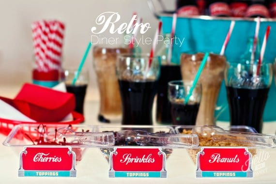50's Retro Diner Baby Shower Theme. Soda Floats (hellomysweet)