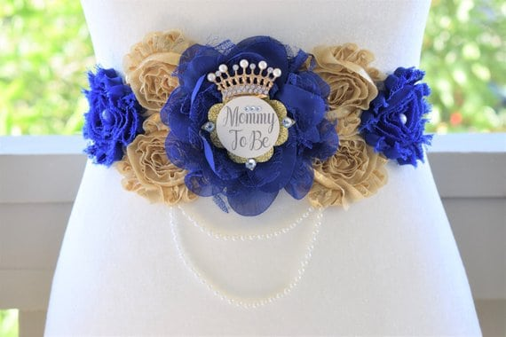 Belly Sash for Mom. Royal Prince Baby Shower (flowersbychris)