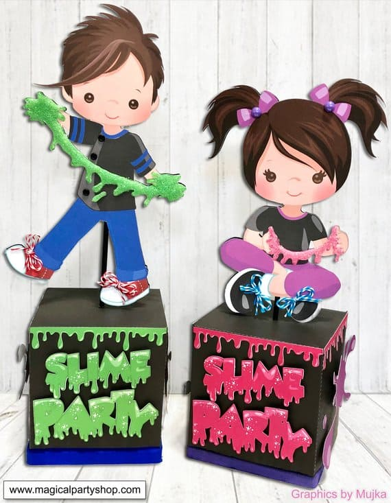 Slime Party Centerpiece. Baby Shower Ideas for Boys. (magicalparyplace, graphics by Mujka)