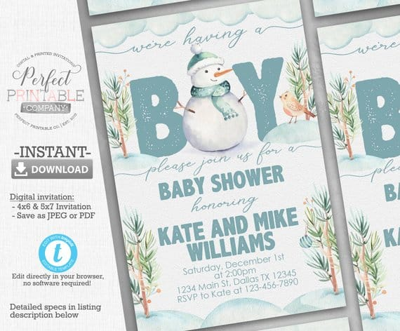 Snowman Baby Shower Invitations. Baby shower ideas for boys. (perfectprintableco)