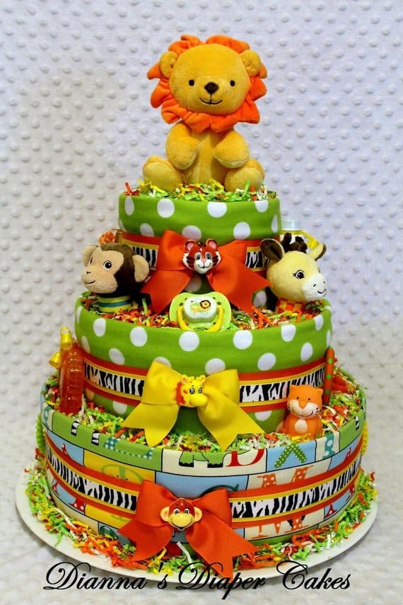 Zoo, Safari, Jungle Diaper Cake. Gender Neutral Baby Shower Theme. (DiannasDiaperCakes.)