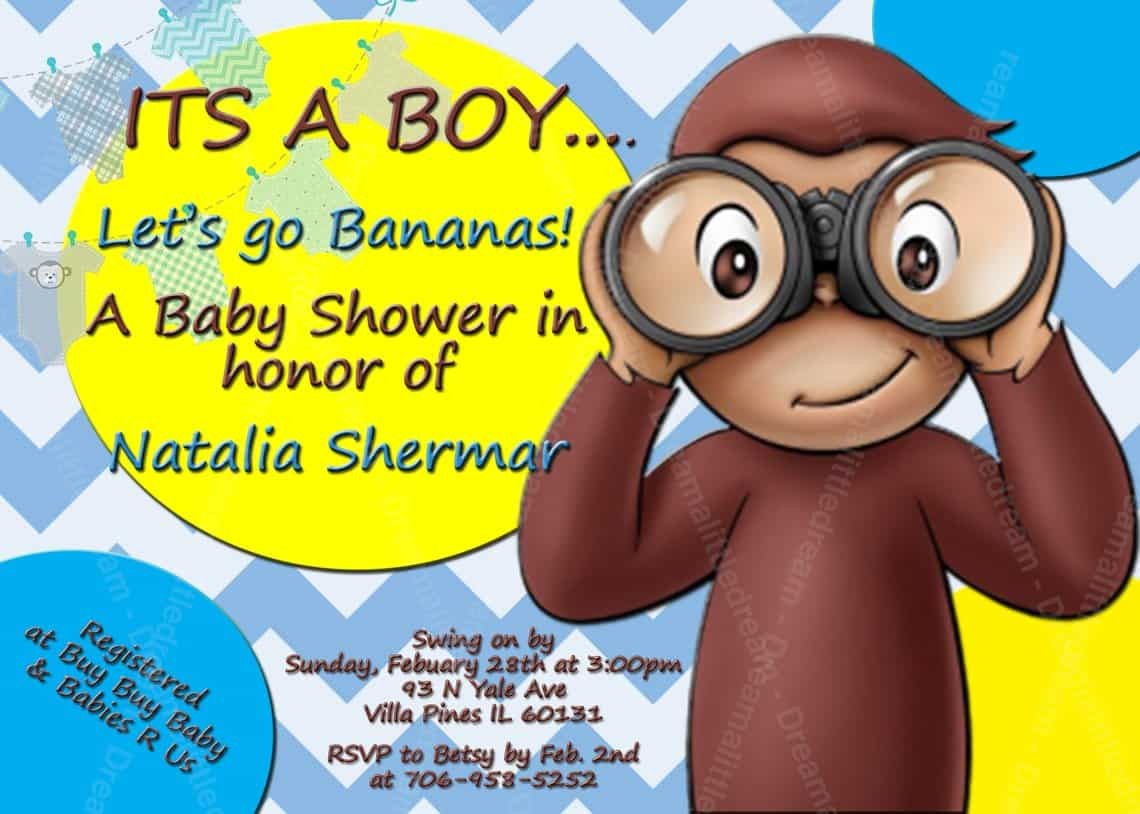 Curious George Baby Shower Invitations (dreamalittlecraft). A fun baby shower theme for boys.