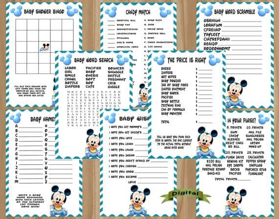 Mickey Mouse Baby Shower Printable Games (invitesondemand)
