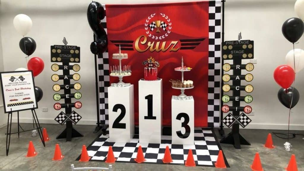 Race Car Baby Shower Backdrop. (artisangalore) Baby Shower Theme for Boys.