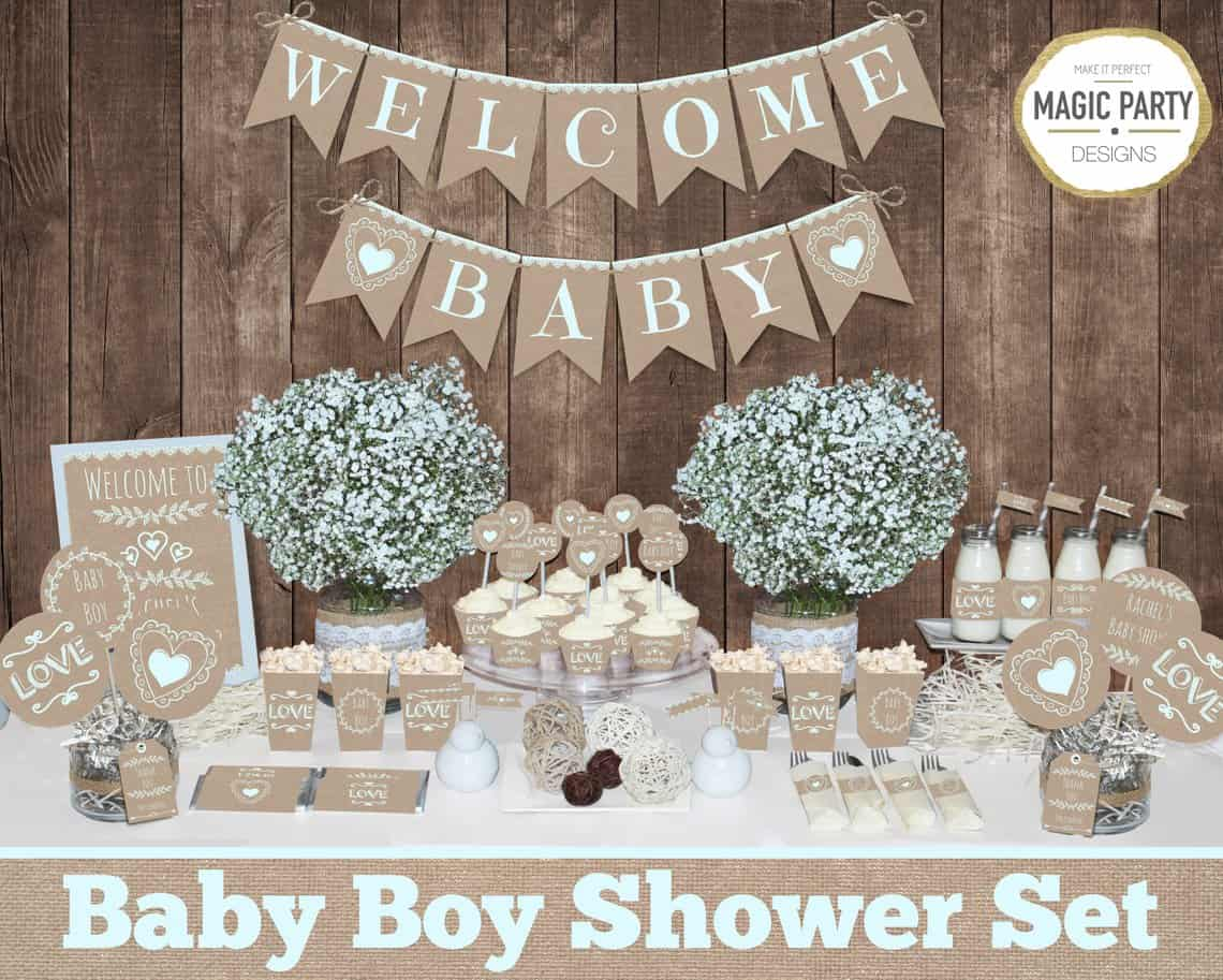 Rustic Baby Shower Set for Boys.