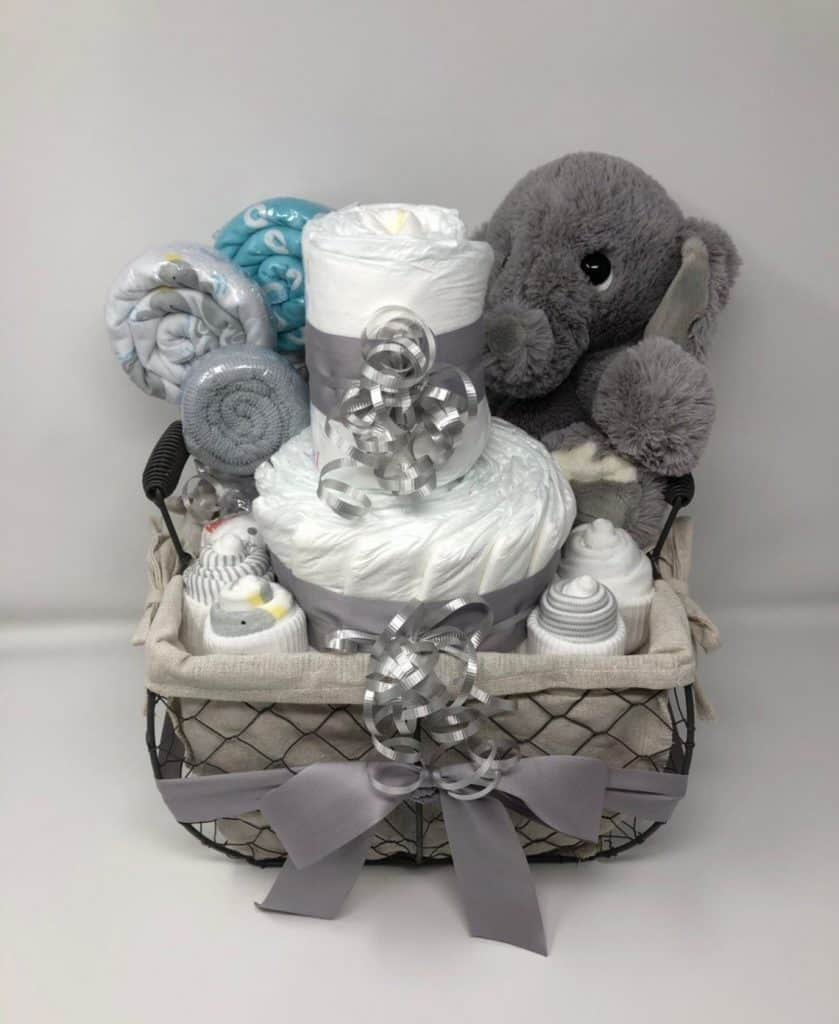 Elephant Diaper Cake Gift Basket (gift it by grace). A gift basket for baby loaded with fun items.