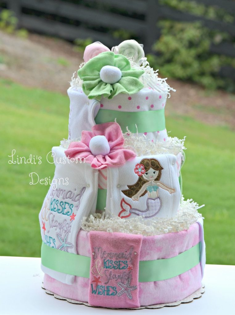 Unique Mermaid Diaper Cake (lindis custom designs) Beautiful baby shower theme for girls.