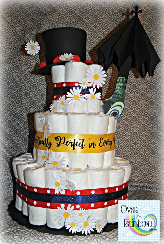 Mary Poppins Diaper Cake (over the rainbow arts) Unique baby shower idea.