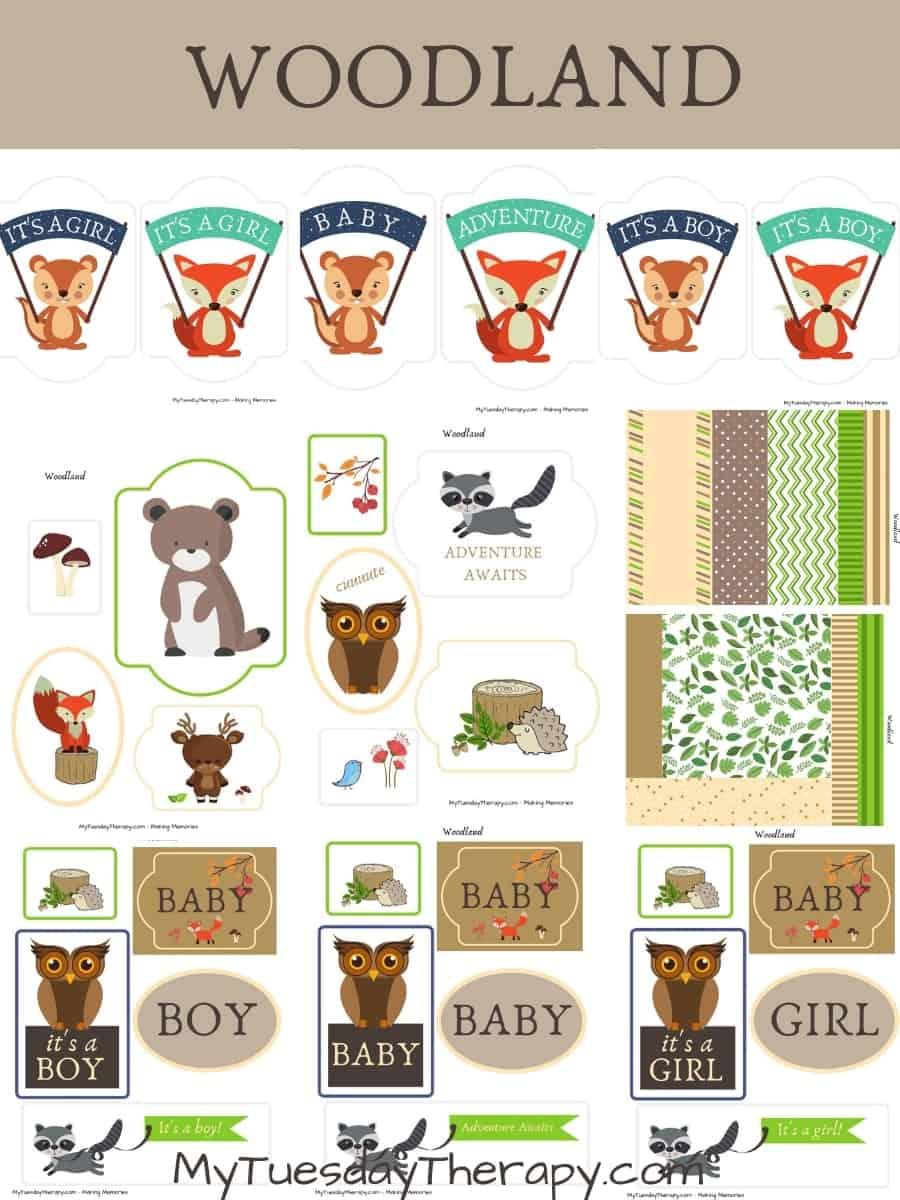 Woodland Baby Shower Printables. Woodland Diaper Cake Ideas.