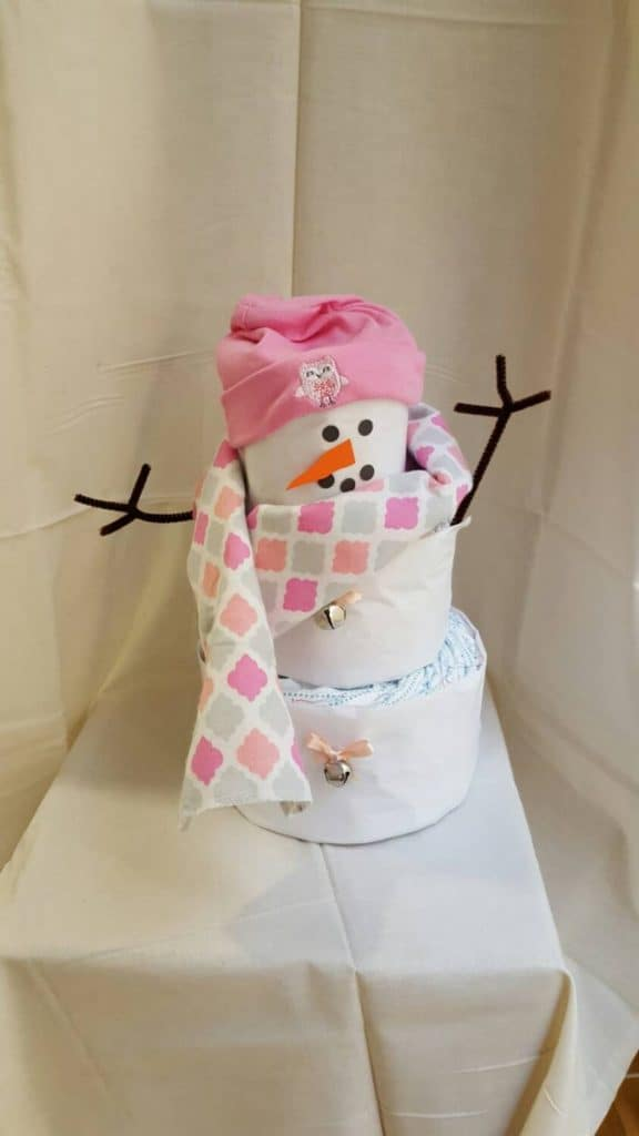 Snowman Diaper Cake (julies gifts and decor) Winter Theme Baby Shower.