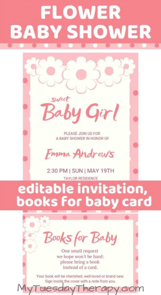 Editable flower baby shower invitation.