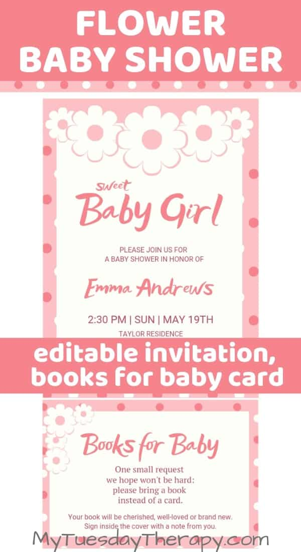 Editable flower baby shower invitation.