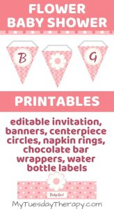 Flower Baby Shower Printables. Banners, centerpiece circles, napkin rings, chocolate bar wrappers, water bottle labels.