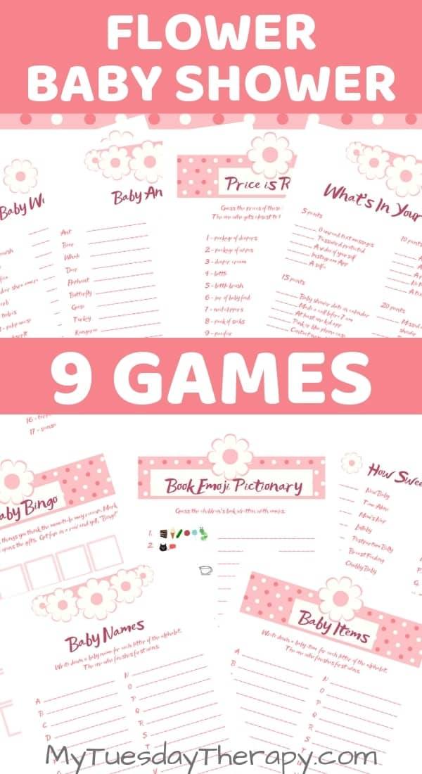 Flower Themed Baby Shower Games Printables. 9 games: baby word scramble, Baby Names, Baby ABC's, What's in your phone, baby bingo, book emoji pictionary, how sweet, baby animals.
