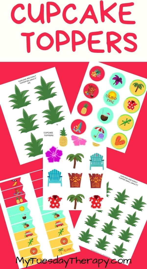 Luau Cupcake Toppers. Luau party food.