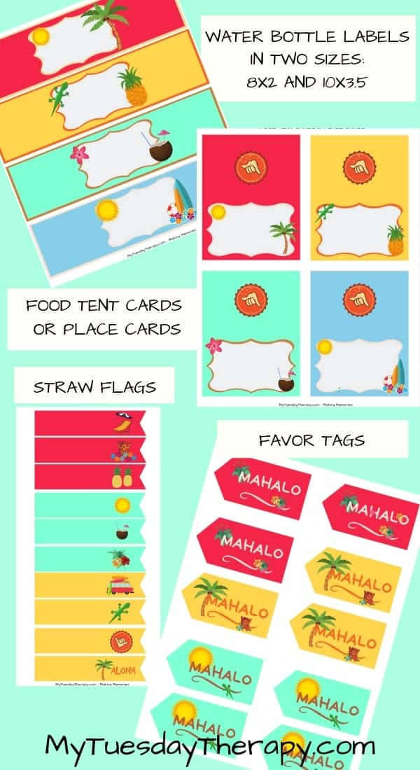 Luau Party Printables: water bottle labels, food tents, straw flags, favor tags all in fun luau party colors.