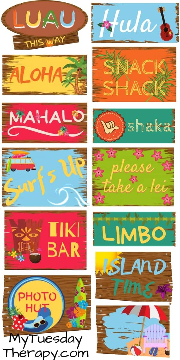 Luau Party Signs. Luau party decorations DIY.